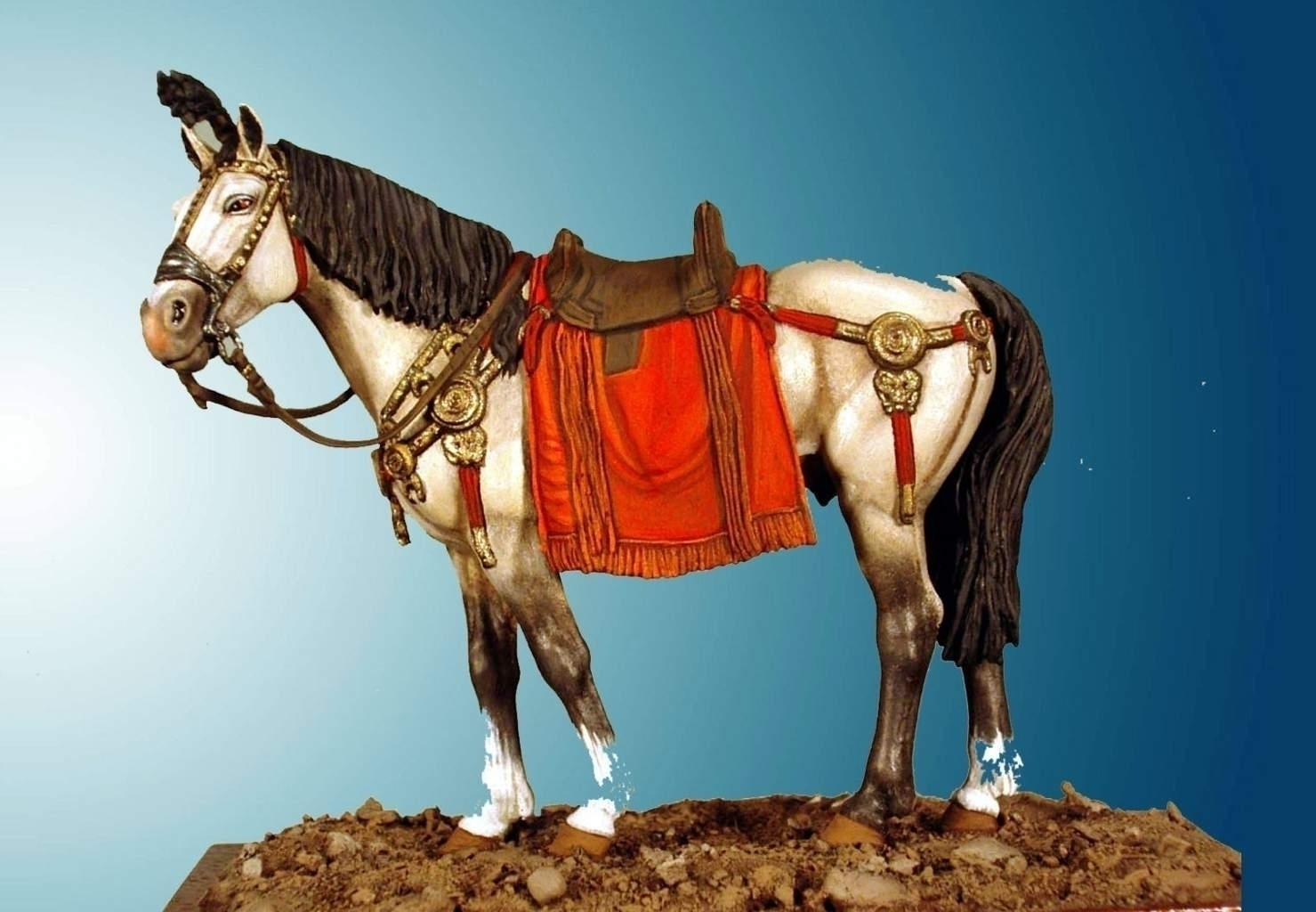 Horse With Roman Saddle